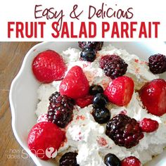 4 Ingredient, Delicious, Fruit Salad Parfait! ...Took this to one potluck and have been asked to bring it every time!! Sooo good! #fruitparfait #parfait Recipe at HowDoesShe.com