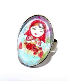 russian doll  babushka matryoshka ring light blue and red via Etsy
