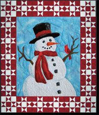 """Mr Frosty Wallhanging Pattern by England Designs at KayeWood.com. 26"""" x 31"""" quilt, which combines beginner level Picture Piecing and traditional piecing. http://www.kayewood.com/item/Mr_Frosty_Wallhanging_Pattern/3713 $12.00"""