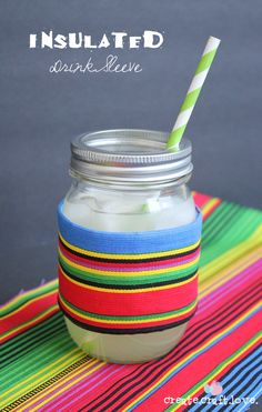 Create this Insulated Drink Sleeve in 10 minutes or less!!  That includes sewing time!  via createcraftlove.com