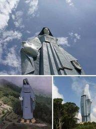 #Virgen de la Paz con 46,7 m (153 pies) de alto, que vela por la ciudad de #Trujillo. Es la escultura figurativa más alta en el hemisferio occidental.
