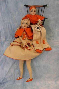 Pair Felt Pierrot/Pierrette Boudoir Dolls