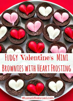 Fudgy Valentine's Brownies with Cream Cheese Heart Frosting @HomeLifeAbroad.com #valentines #brownies #sweets