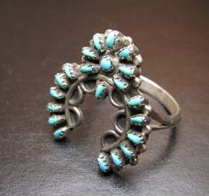 Vintage Zuni Squash Blossom Silver & Turquoise Native American Ring