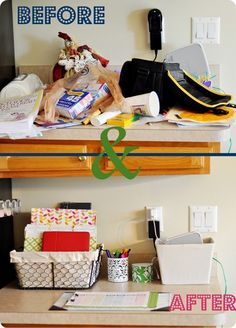 Kitchen organization before & after - good ideas for folder titles on kitchen counter