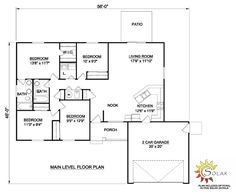 First Floor Plan of Ranch   House Plan 94432