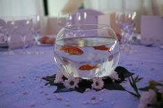 2nd centerpiece fish bowl inside will be sand shells for Plastic fish bowls dollar tree