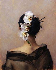 Grace Mehan De Vito (born 1965) | Cascading Orchid, oil painting