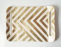 Gold Zag Tray by upintheairsomewhere on Etsy