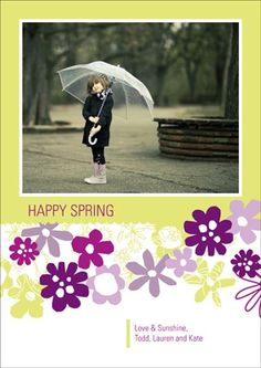 Easter Photo Cards -- Petal Patches #eastercardideas #easterideas #spring #peartreegreetings umbrella prop, kid pose, card, toddler