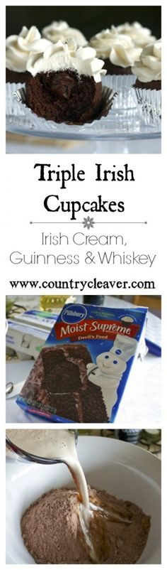 Never Too Late For A Little Irish -Triple Irish Cupcakes - Country Cleaver