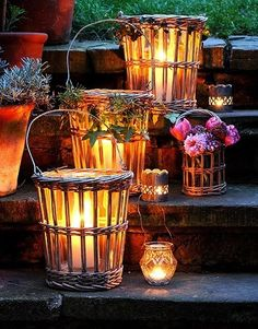 lantern, wicker baskets, decorating ideas, patio, porch decorating
