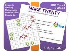 """""""Make Twenty"""" - Tell pairs of numbers that add together to make 20. Supports learning Common Core Standards: 1.OA.6, 2.OA.2 [KNP Task # S 2204.4]"""