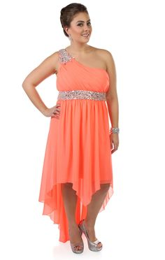 Deb Shops #neon #coral plus size beaded one shoulder chiffon high low hemline #prom #dress