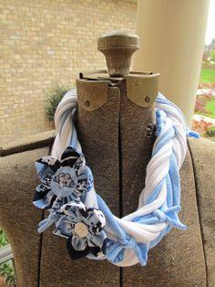 Handmade UNC Carolina Tarheels Necklace Scarf by JustPennies, $20.00