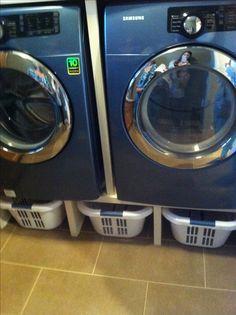 Laundry room baskets hidden storage idea