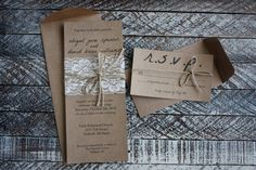 Rustic Wedding Invitations with Lace & Twine by youandmepaperie, $4.50