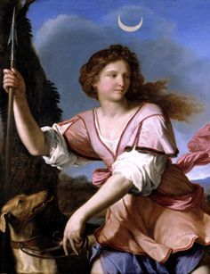 """Diana the Huntress, by Guercino in 1658. In this painting the goddess is shown with a spear rather than her usual bow and arrow. (Photo: Fondazione Sorgente Group) ©Mona Evans, """"Night Sky Olympics"""" http://www.bellaonline.com/articles/art41582.asp"""