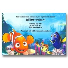 Disney Nemo Dory Squirt Birthday Invitations