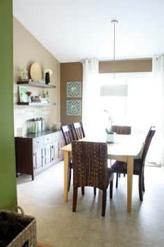 wall colors, dining rooms, dining room storage, buffet, floating shelves, dine room, paint colors, kitchen, open shelving