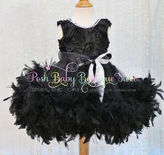 Black Angel Feather Ostrich Girls Dress