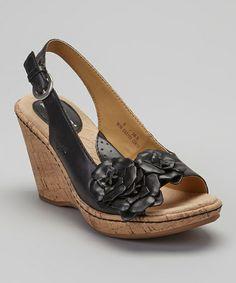 Look at this #zulilyfind! Black Litzy Leather Slingback Wedge Sandal #zulilyfinds