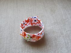 Fun Retro Floral Fabric Bracelet with Matching by BristowTreasures, $6.00