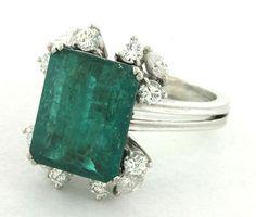 Vintage 1950s 18K White Gold 5 58ctw VS1 G Diamond Emerald Cocktail Ring Size 7 | eBay