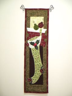 Christmas Quilted Wall Hanging Applique by ThreadBasket on Etsy