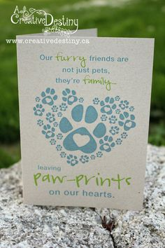 Pawprints on your heart Greeting Card Pet sympathy card  ACreativeDestiny on Etsy, $4.00
