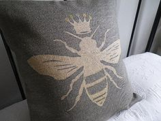 hand printed Queen bee cushion cover by helkatdesign on Etsy, $76.00