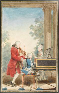 Portrait de Wolfgang Amadeus Mozart (Salzbourg, 1756-Vienne, 1791) jouant à Paris avec son père Jean-Georg-Léopold et sa sœur Maria-Anna, 1763, Louis Carrogis Carmontelle (artist, French 1717-1806), Musée Condé,  CAR 418