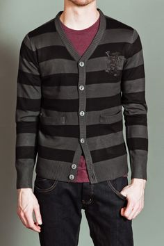 FUSAI Rugby Striped V- Neck Cardigan >> Was $ 70, now $14.00!
