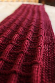 Knitted cashmere scarf, from a free pattern on Ravelry.