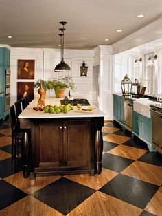 turquoise, black, white and great floor cabinet colors, floor design, painted wood floors, hous, kitchen, aqua, black, island, painted floors