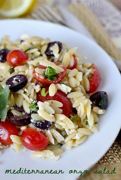 Mediterranean Orzo Salad:  6oz orzo 1-1/2 cups grape or cherry tomatoes, halved 1/2 cup feta cheese crumbles 1/4 cup pitted kalamata olives, sliced 1/4 cup chopped parsley 2 Tablespoons capers  For the Lemon Dressing: 1/4 cup lemon juice 1 teaspoon honey 1 clove garlic, chopped salt  pepper 1/2 cup extra virgin olive oil