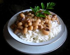 Blackeye Peas and Rice - In the South, eating black eyed peas is considered lucky on the first day of the new year.
