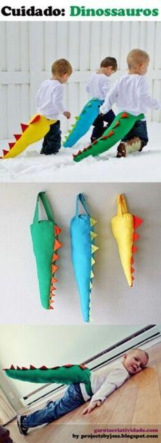 A criançada pira no dinossauro! Dinosaur tails! Kids crafts.