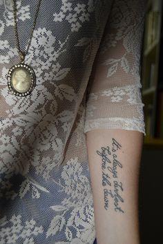 """It's always darkest before the dawn."" arm tattoo"