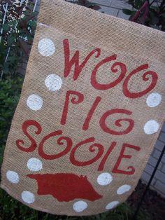 Arkansas Razorback Garden Flag Handpainted by ELouiseBoutique, $20.00 garden flags, hog, arkansas razorbacks, arkansa razorback, arkansasrazorback