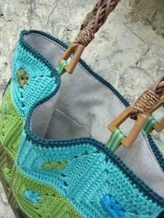 Blue and Green lined crochet bag - *Inspiration* crochet a bag out of whatever square pattern is your favorite, sew on ribbon to attach your handles