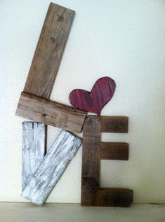 primitive valentine decor | Rustic LOVE Reclaimed Wood Valentine Home Decor. $36.00, via Etsy.