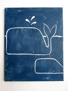 "Modern Kids and Nursery Whale Art Original Painting - 16"" x 20"" on regular 3/4"" depth canvas - The Whales. $75.00, via Etsy."