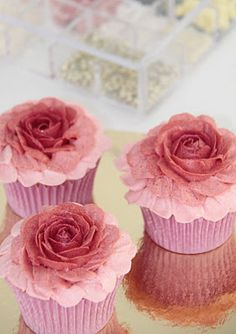 Beautiful Pink Rose Cupcakes