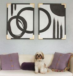 abstract art - frames - black & white paint - spray paint for frame corners - fun and cheap art idea.  Not gold corners though ~