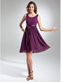 Bridesmaid Dresses - $103.99 - A-Line/Princess Scoop Neck Knee-Length Chiffon Charmeuse Bridesmaid Dress With Sash Bow(s)  http://www.dressfirst.com/A-Line-Princess-Scoop-Neck-Knee-Length-Chiffon-Charmeuse-Bridesmaid-Dress-With-Sash-Bow-S-007015498-g15498