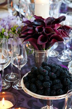 . table settings, blackberri, centerpiec, color, calla lilies, halloween weddings, flower, calla lillies, berries