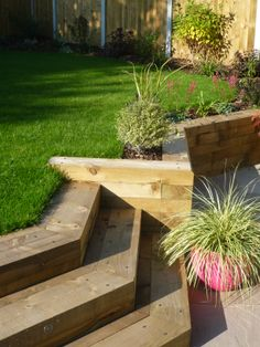 Upper lawn and retaining sleeper wall / steps