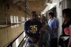 Not the Brightest Guy  Safety Damariay Drew laughs with an inmate inside a housing block as Cal Bears football players make a visit to San Quentin State Prison on ...