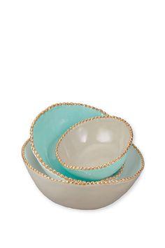 Studded Stacking Bowls - Aqua - Set of 3